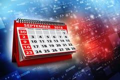 2018 de Spiraalvormige Kalender van September op digitale achtergrond 3d geef terug stock illustratie