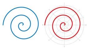 De spiraalvormige, rekenkundige spiraal van Archimedes, over wit Royalty-vrije Stock Foto