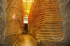 De spiralen van de wierook, de tempel van Kun Iam, Macao. stock fotografie
