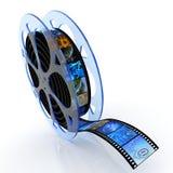 De spoel van de film met beelden Stock Afbeeldingen