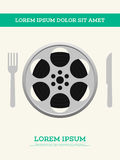 De spoel van de filmfilm en vectorillustratie van de filmstrip de uitstekende affiche Royalty-vrije Stock Afbeeldingen