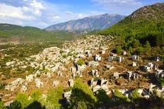 De spookstad Kayaköy Turkije Royalty-vrije Stock Fotografie
