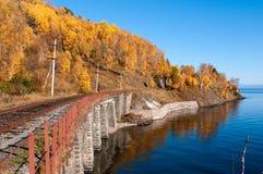 De spoorweg circum-Baikal Stock Foto