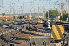 De spoorweg defocused daglicht royalty-vrije stock foto