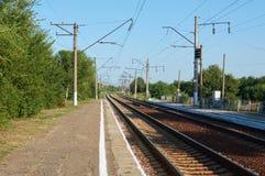 De spoorweg gaat voor de draai Stock Fotografie