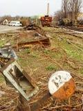 De spoorweg schakelt de verlaten post van Donau in Belgrado in royalty-vrije stock foto