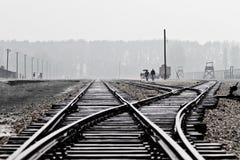 De Spoorweg van de impasse in Birkenau Stock Afbeeldingen