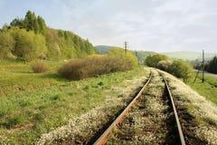 De spoorweg van de lente Stock Afbeelding
