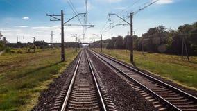De spoorweg van de tijdtijdspanne, vervoer, reis, mening van een treinauto stock videobeelden