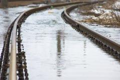 De spoorweg van Waterloged royalty-vrije stock fotografie