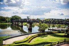 De spoorwegbrug over de rivier Royalty-vrije Stock Foto