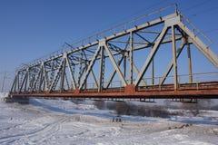 De spoorwegbrug van het staal Stock Foto