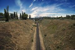 De spoorwegpassen Royalty-vrije Stock Fotografie