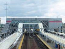De Spoorwegpost van Stamford metro-in het noorden Stock Foto