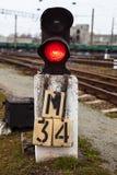 De spoorwegseinpaal toont rood signaal Stock Afbeelding
