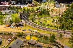 De spoorwegsporen bij een station het groot-Onechte Museum is de stad van St. Petersburg Royalty-vrije Stock Foto's