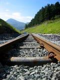 De spoorwegsporen van de berg stock foto's