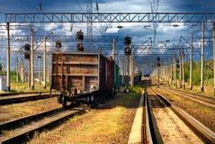 De spoorwegtrein met auto's Royalty-vrije Stock Foto