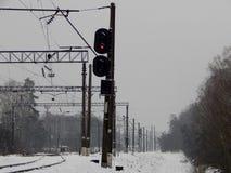 De spoorwegverkeerslichten zijn rood royalty-vrije stock afbeelding