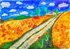 De sporen die van het land door Kay Gale schilderen Stock Foto