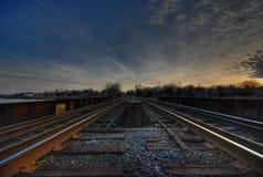 De sporen HDR van de trein Stock Foto