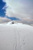De sporen van de skiër Royalty-vrije Stock Afbeelding