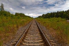 De sporen van de spoorweg Stock Foto