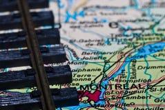 De sporen van de spoorweg op de kaart van Montreal Stock Fotografie