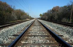 De sporen van de spoorweg in platteland Royalty-vrije Stock Fotografie