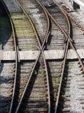 De sporen van de spoorweg - punten Stock Afbeelding