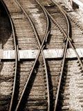 De sporen van de spoorweg - sepia Royalty-vrije Stock Afbeeldingen