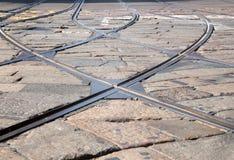 De sporen van de tram - Tramspoor Milaan Royalty-vrije Stock Afbeelding
