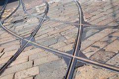 De sporen van de tram - Tramspoor Milaan Stock Foto