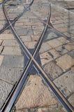 De sporen van de tram - Tramspoor Milaan Stock Afbeeldingen
