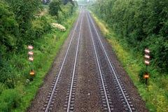 De sporen van de trein Stock Afbeeldingen