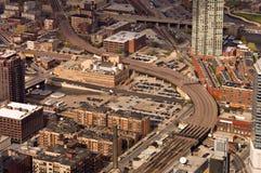 De sporen van de trein in Chicago Stock Foto's