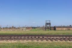 De sporen van het concentratiekamp auschwitz-Birkenau stock afbeelding