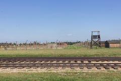 De sporen van het concentratiekamp auschwitz-Birkenau royalty-vrije stock fotografie