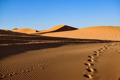 De sporen verlaten tegen tijd in de Sahara verlaten Stock Foto