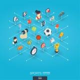 De sport integreerde 3d Webpictogrammen Digitaal netwerk isometrisch concept Royalty-vrije Stock Afbeeldingen