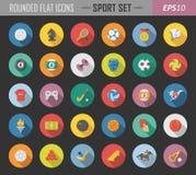 De sport maakte vlakke pictogrammen rond vector illustratie