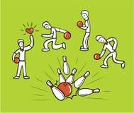 De sport van het de balkegelen van het mensenkegelen Royalty-vrije Stock Afbeeldingen