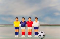 De sport van het voetbalvoetbalsters van de Foosballlijst teame Stock Fotografie