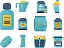 De sport vult vlakke blauwe pictogrammen aan Royalty-vrije Stock Foto's