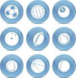 De sportenballen van pictogrammen in vector Stock Afbeeldingen