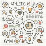 De sporthand trekt geïntegreerde geplaatste kleurenpictogrammen Stock Foto's