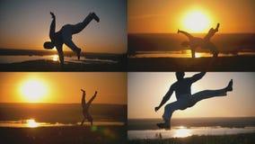 De sportman is bezig geweest met capoeira op de achtergrond van een oranje zonsondergang - 4 in 1 Royalty-vrije Stock Foto's