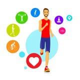 De sportmens stelt Fitness App Wearable Drijverspictogrammen in werking Royalty-vrije Stock Afbeeldingen