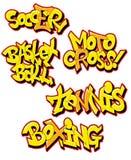 De sportnamen van Graffiti royalty-vrije illustratie