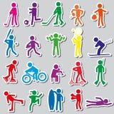 De sportsilhouetten kleuren eenvoudige geplaatste stickers Royalty-vrije Stock Afbeeldingen